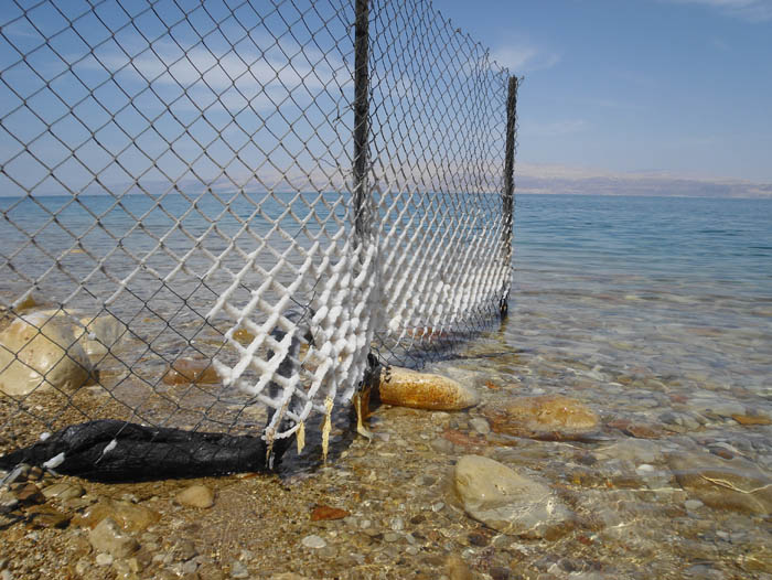 Salt covered fence at the Dead Sea