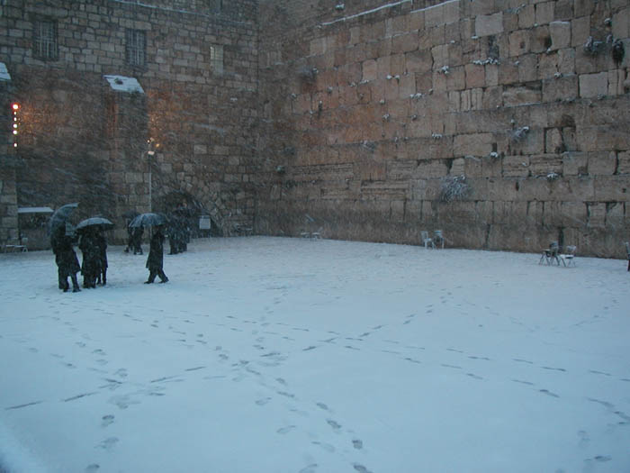 Western Wall in snow